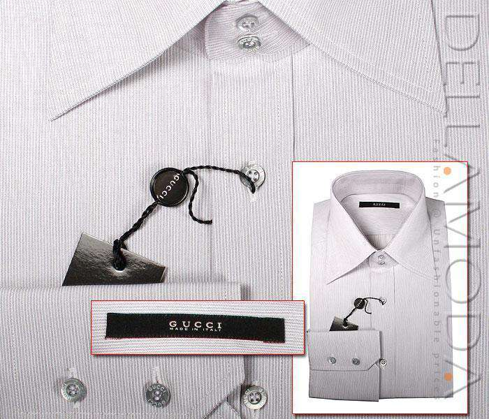 Gucci Body Slim Fit Dress Shirts, Beige Stripes-AmbrogioShoes