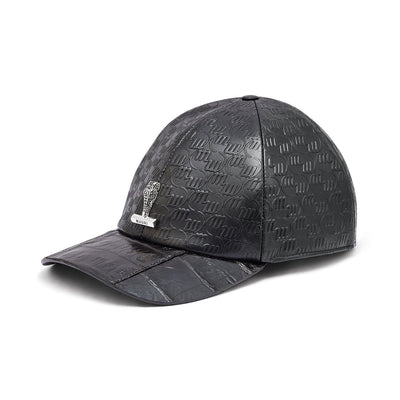 Mauri H65 Men's Black Exotic Caiman Crocodile / Nappa Embbosed Hat (MAH1008)-AmbrogioShoes