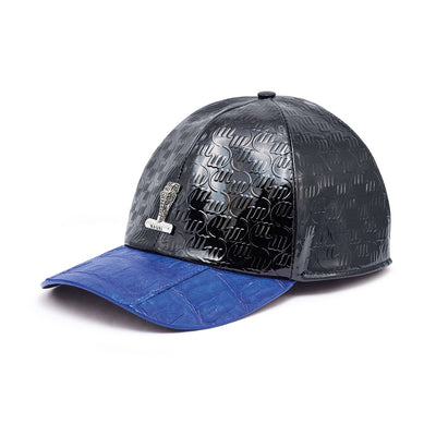 Mauri H65 Men's Black & Royal Blue Exotic Caiman Crocodile / Nappa Embbosed Hat (MAH1012)-AmbrogioShoes