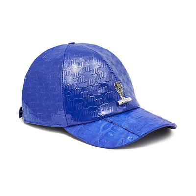 Mauri H65 Men's Royal Blue Exotic Caiman Crocodile / Nappa Embbosed Hat (MAH1011)-AmbrogioShoes