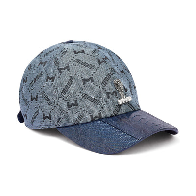 Mauri H65 Men's Wonder Blue & Gray Ostrich Leg / Fabric Hat (MAH1005)-AmbrogioShoes