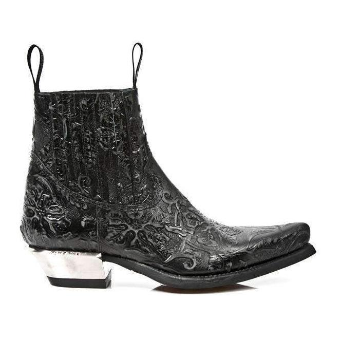 New Rock Men's Shoes Black Vintage Flower Print Western Boots M-7953-S21 (NR1137)-AmbrogioShoes
