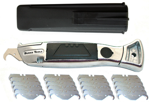 BURKE TOOLS K550 SILVER KNIFE with 20 GERMAN BLADES CHOOSE: DEEP HOOK, SMALL HOOK, CONCAVE OR STRAIGHT UTILITY