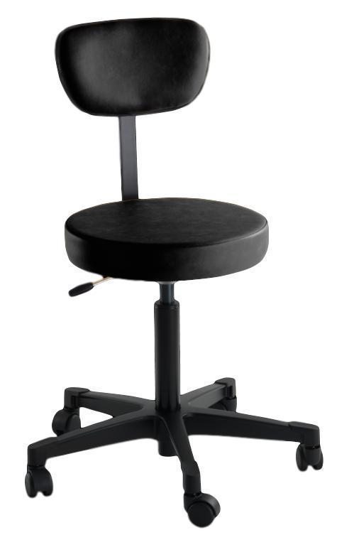 Reliance Exam Room Black 4246 Pneumatic Stool with Back
