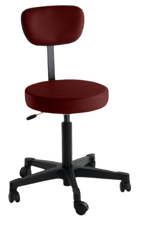 Reliance Exam Room Burgundy 4246 Pneumatic Stool with Back