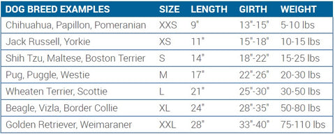 RC Dog Clothing Stratus Puffer Coat Size Chart