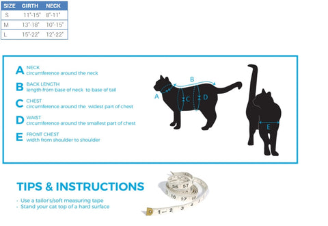 RC Kitty Adventure Harness Size Chart
