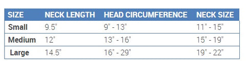 RC Pet Products Polaris Snood Sizing Chart