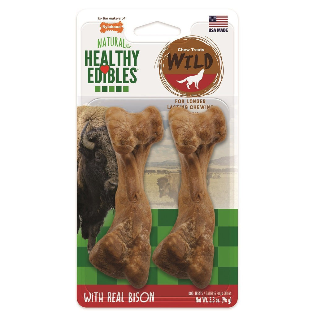 Nylabone Healthy Edibles Wild Bison Medium - 2 Pack Chew Products - PetMax