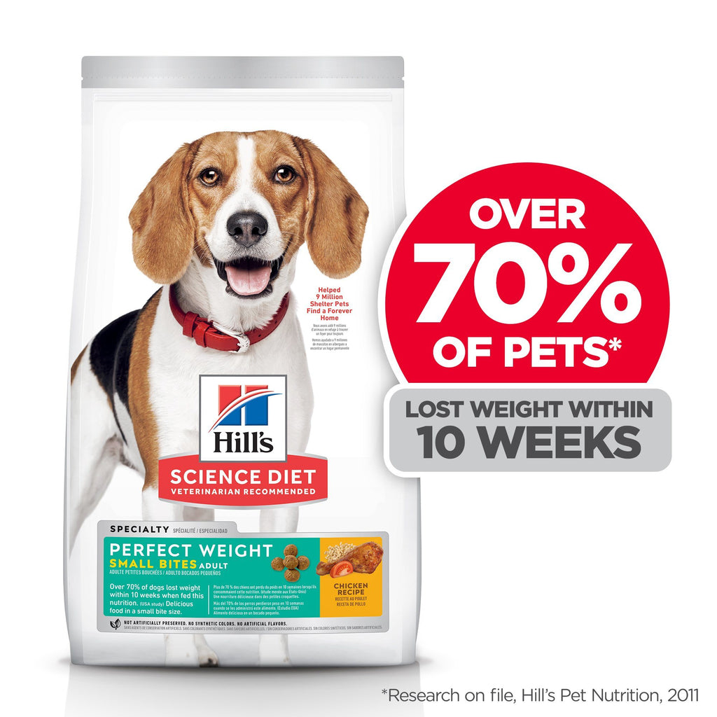 Hill's Science Diet Adult Perfect Weight Small Bites Dry Dog Food, Chicken Recipe, 1.81 Kg Bag  Dog Food - PetMax
