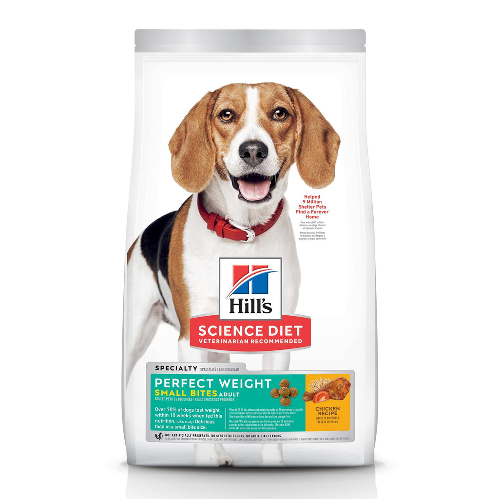Hill's Science Diet Adult Perfect Weight Small Bites Dry Dog Food, Chicken Recipe, 1.81 Kg Bag 1.8 Kg Dog Food - PetMax