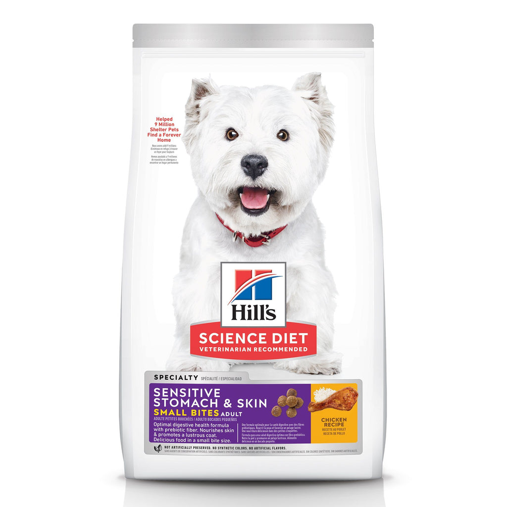 Hill's Science Diet Adult Sensitive Stomach & Skin Small Bites Dry Dog Food, Chicken Recipe, 1.81 Kg Bag 2.04 Kg Dog Food - PetMax