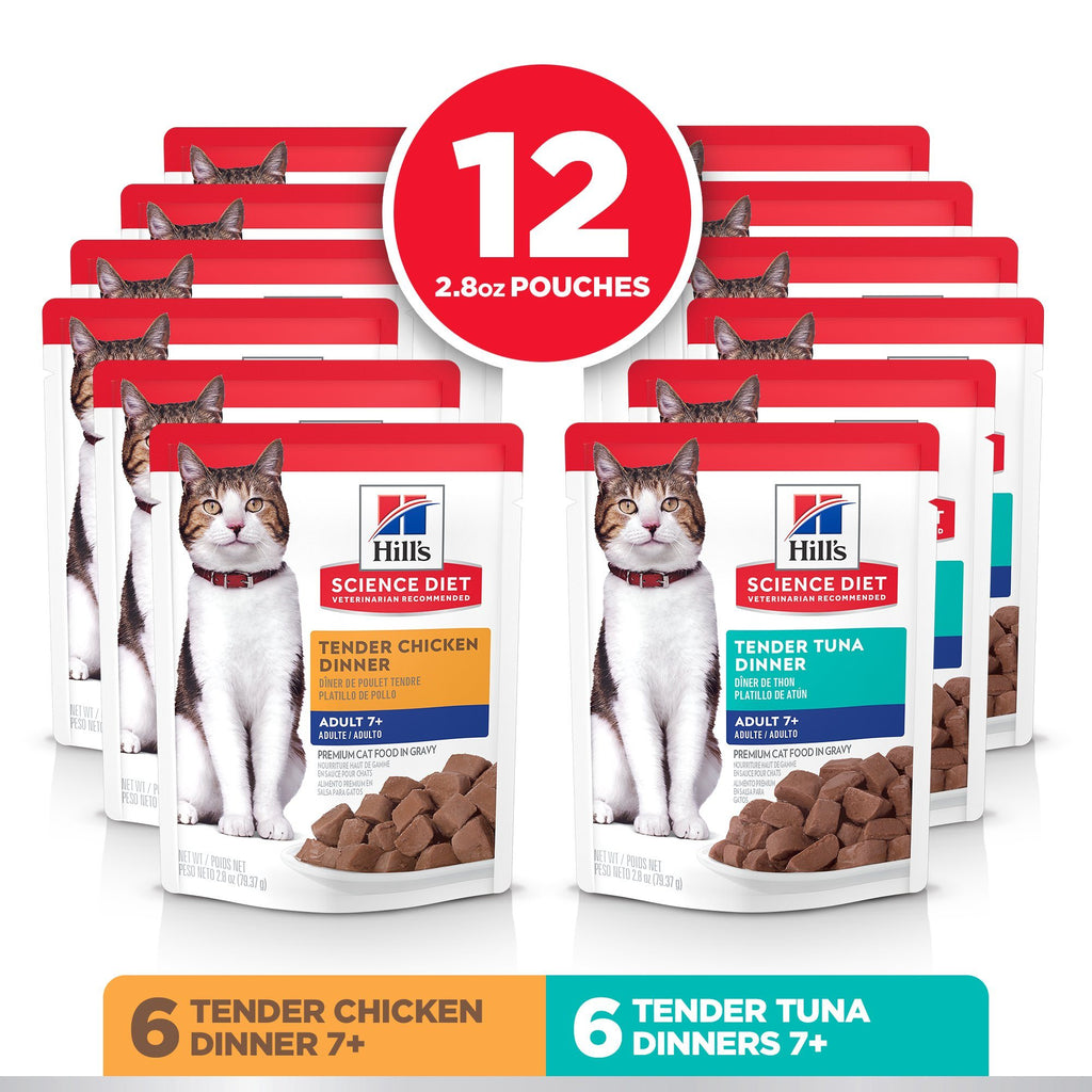 Hill's Science Diet Senior 7+ Canned Cat Food Pouch Variety Pack, Chicken and Tuna 79g pouch  Canned Cat Food - PetMax