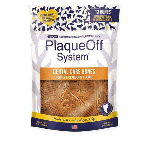 PlaqueOff System Dental Turkey & Cranberry Bones, Dog Treats, Proden - PetMax Canada