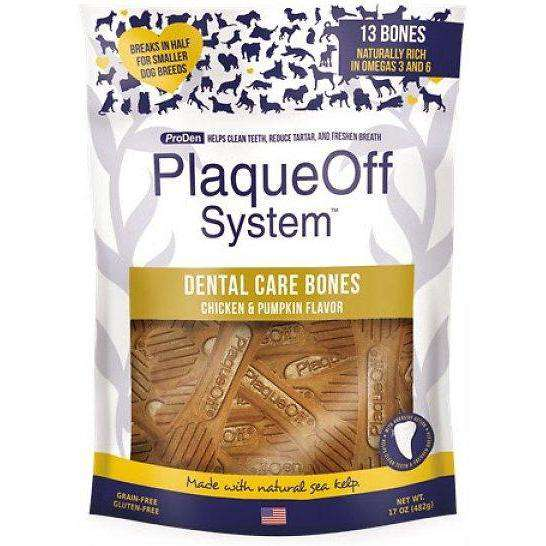 PlaqueOff System Dental Chicken & Pumpkin Bones  Dog Treats - PetMax