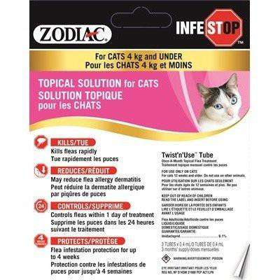 Zodiac Infestop For Cats 4 Kg And Under, Flea & Tick, Zodiac - PetMax Canada