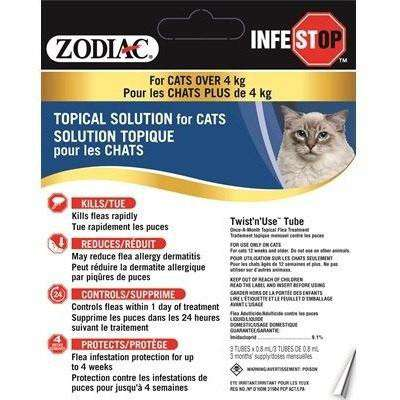 Zodiac Infestop For Cats Over 4 Kg, Flea & Tick, Zodiac - PetMax Canada