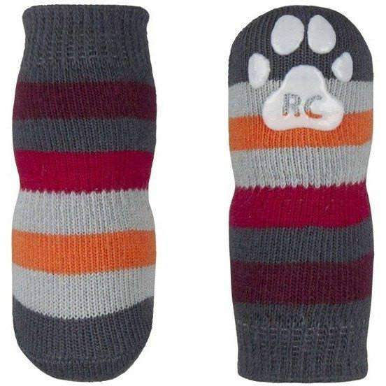 Pawks Anti Slip Socks Grey Stripes, Dog Clothing, RC Pet Products - PetMax Canada