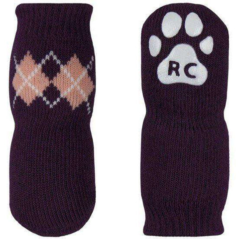 Pawks Anti Slip Socks Argyle Grape, Dog Clothing, Spring Collection - PetMax
