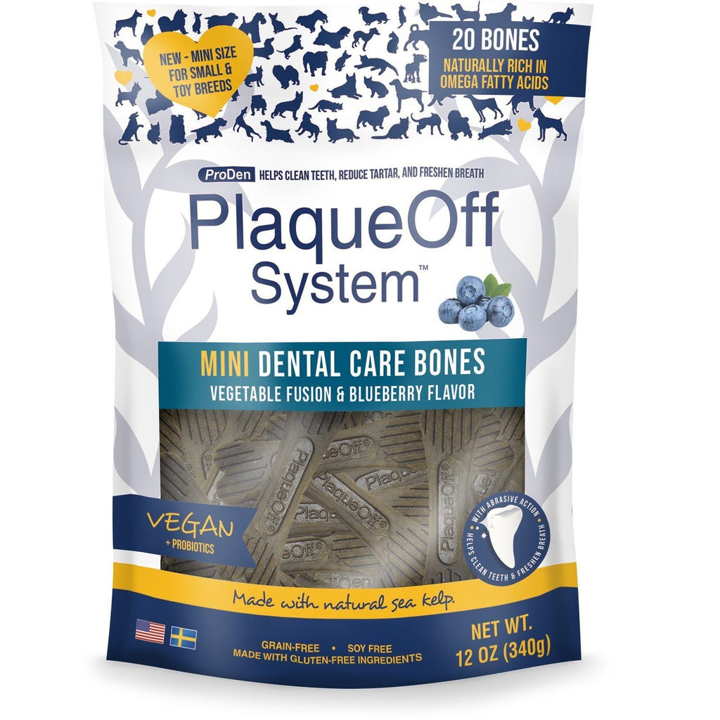 PlaqueOff System Dental Vegetable & Blueberry Bones Mini  Dog Treats - PetMax
