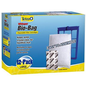 Tetra Whisper Bio-Bag Cartridge Large Unassembled 12 Pack Filters - PetMax