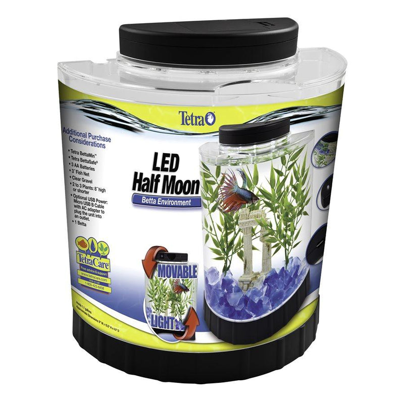 Tetra Betta LED Half Moon Aquarium Kit 1.1 Gallons  Aquarium - PetMax