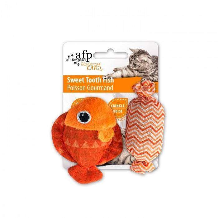 All For Paws Cat Toy Sweet Tooth Fish Orange Cat Toys - PetMax