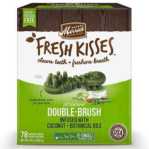 Merrick Fresh Kisses Coconut Brush  Dog Treats - PetMax