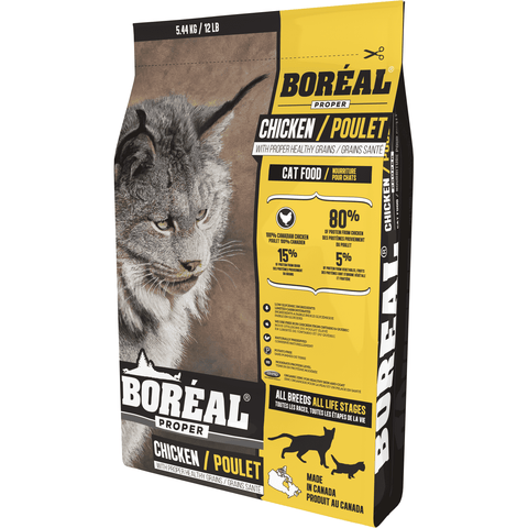 Boreal Proper Cat Food Chicken Low Carb Grains, Dry Cat Food, Boreal Pet Food - PetMax Canada