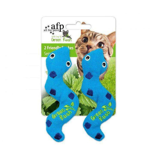 All For Paws Cat Toy Green Rush Silly Snake 2 Pack