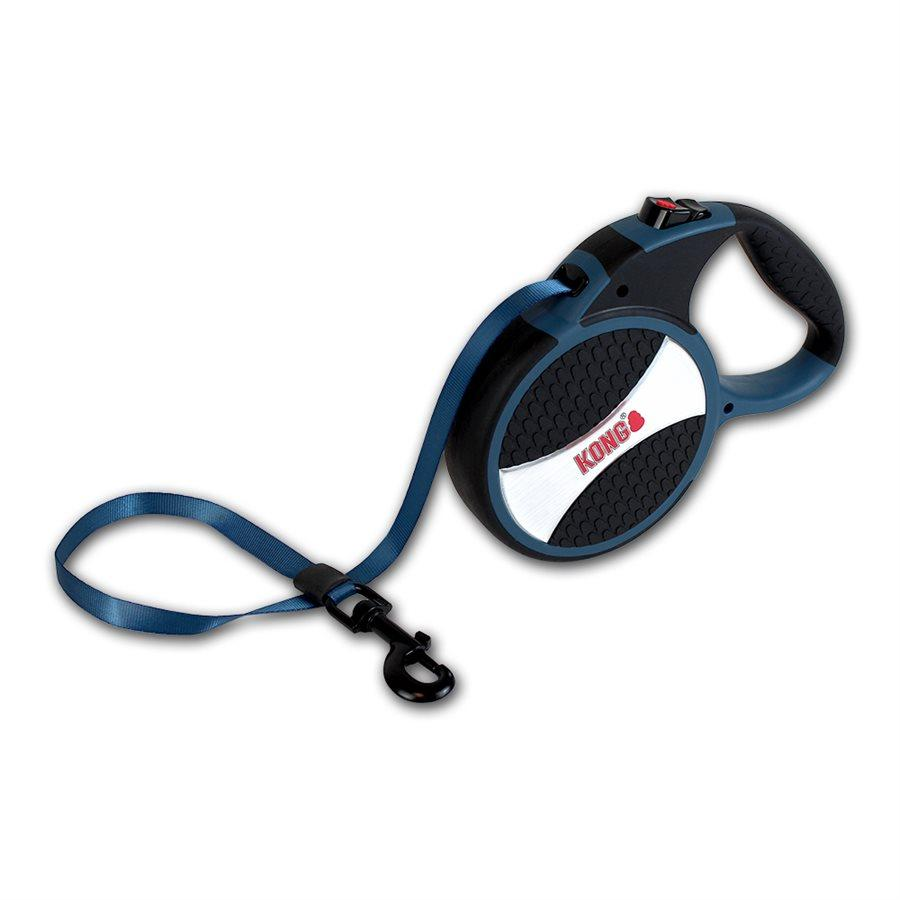 Kong Retractable Tape Leash Explore Blue  Dog Leashes - PetMax