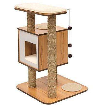 Vesper Cat Furniture V-Base Walnut, Cat Scratching Posts, Rolf C Hagen Inc. - PetMax Canada