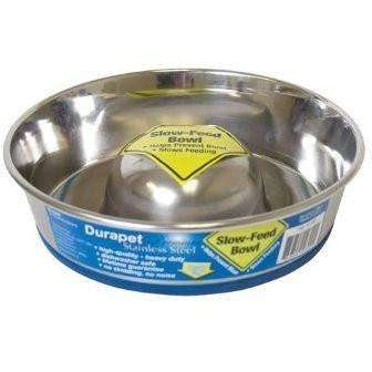 Durapet Premium Stainless Steel Slow Feed Bowl  Dog Dishes - PetMax