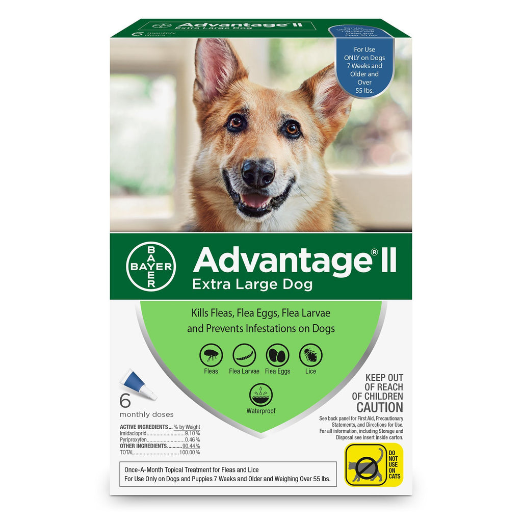 Advantage II For X-Large Dogs 25Kg+ / 6 Pack Dog Flea & Tick - PetMax
