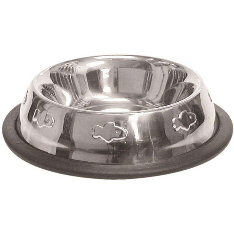 Stainless Steel Embossed No Spill Dog Dish, Dog Dishes, Burgham Sales Ltd. - PetMax