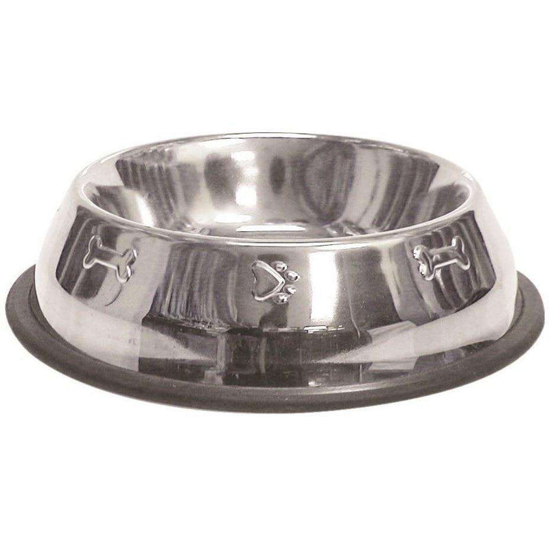 Stainless Steel Pawprint Dog Dish  Dog Dishes - PetMax