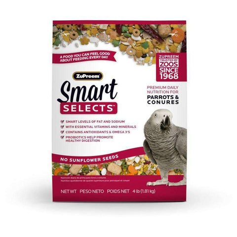 Zupreem Smart Selects Food Parrot & Conure, Bird Food, Zupreem Premium Nutritional Product - PetMax
