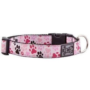 RC Adjustable Dog Collar Pattern Pink Paws  Dog Collars - PetMax