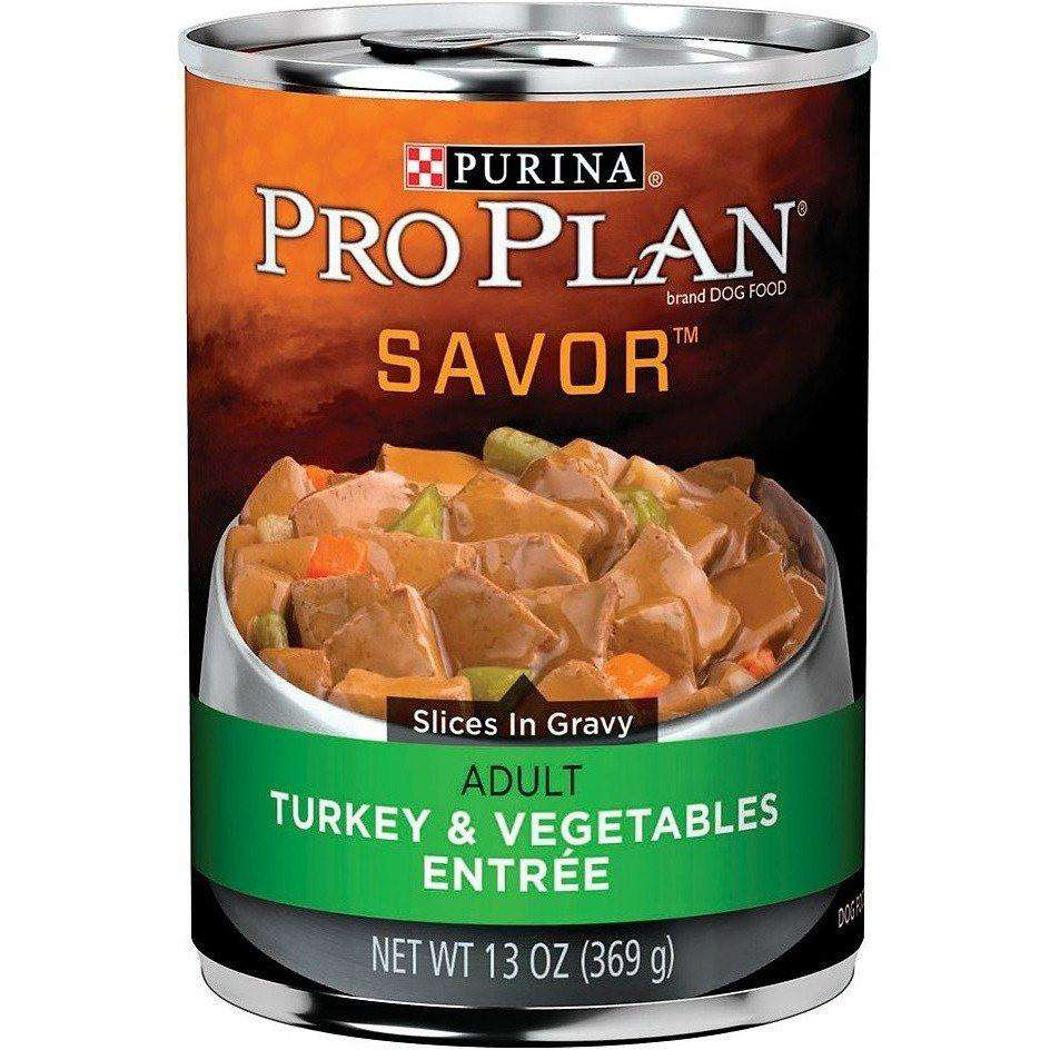 Pro Plan Canned Dog Food Savor Adult Turkey & Vegetable Entree  Canned Dog Food - PetMax