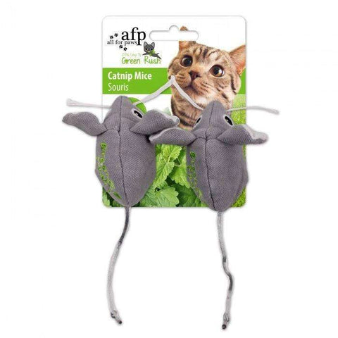 All For Paws Cat Toy Green Rush Mice 2 Pack