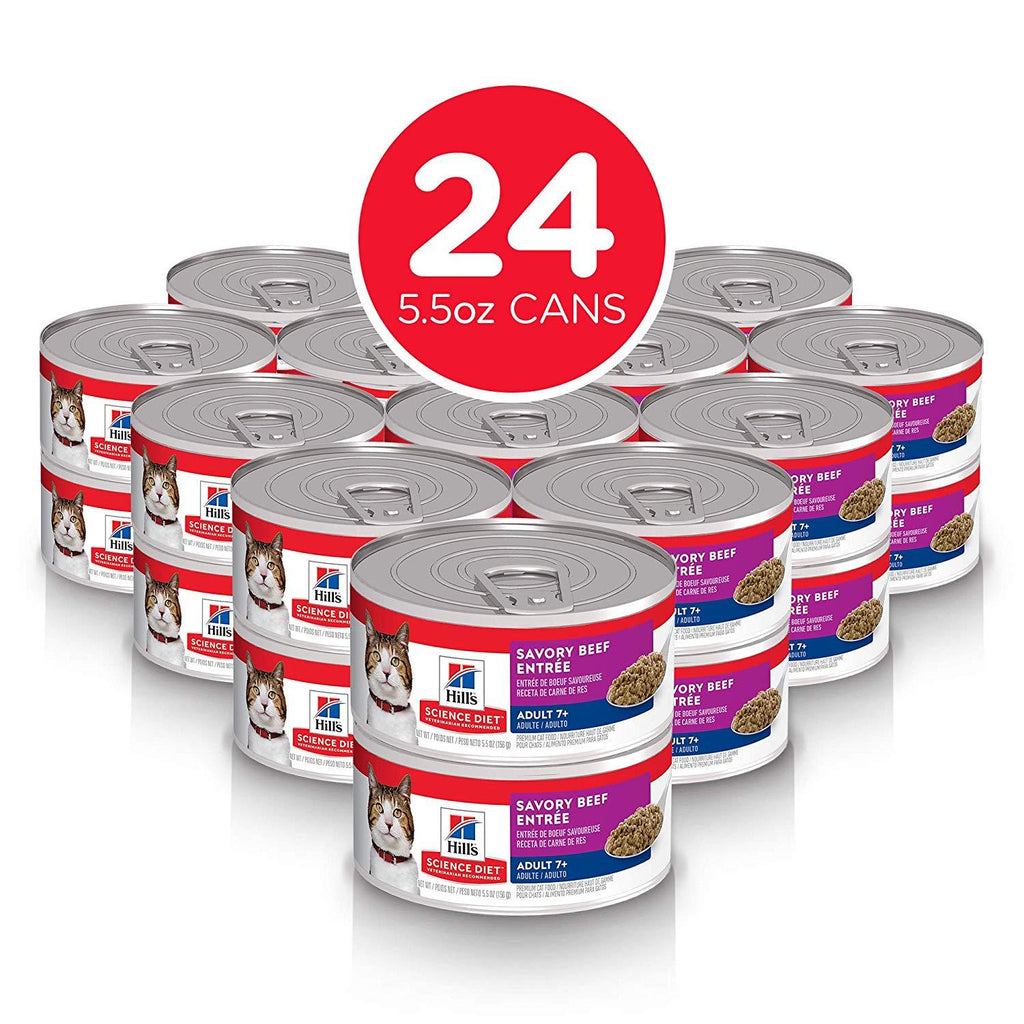 Hill's Science Diet Adult 7+ Savory Beef Canned Cat Food - Case of 24 Canned Cat Food [variant_title] [option1] - PetMax.ca