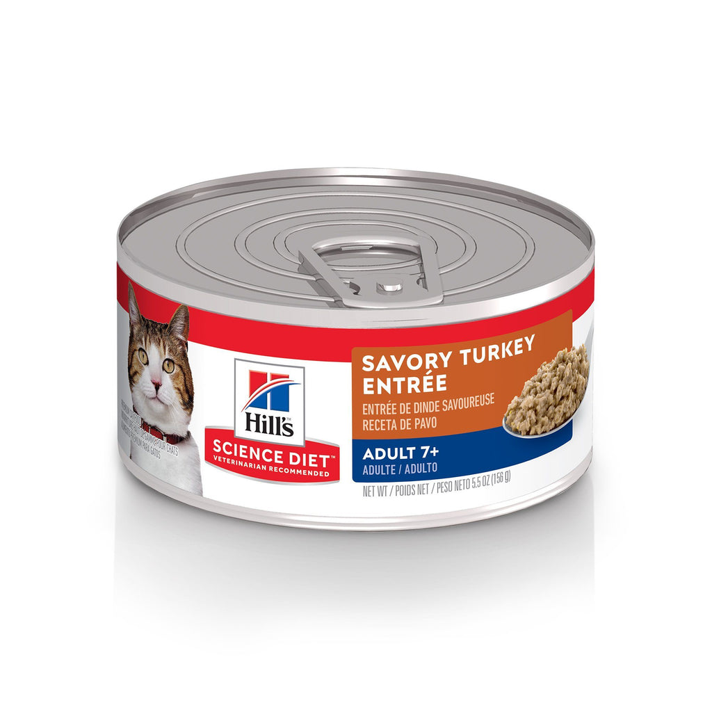 Hill's Science Diet Adult 7+ Savory Turkey Canned Cat Food  Canned Cat Food - PetMax