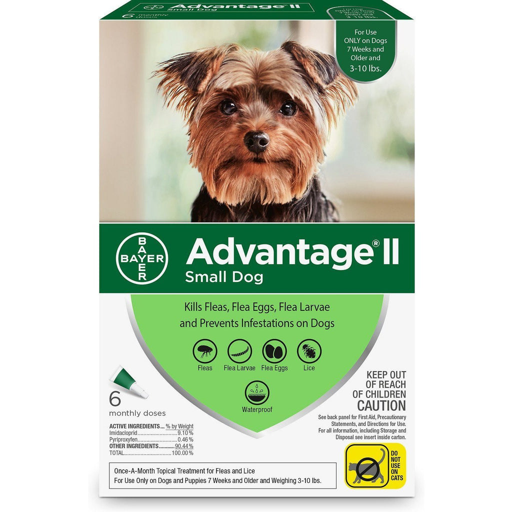 Advantage II For Small Dogs Under 4.5Kg / 6 Pack Dog Flea & Tick - PetMax