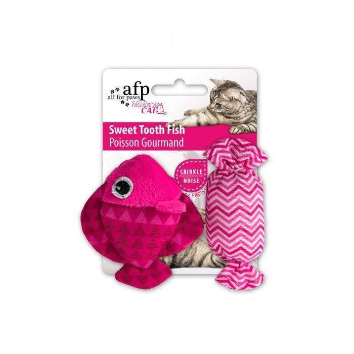 All For Paws Cat Toy Sweet Tooth Fish Pink Cat Toys - PetMax