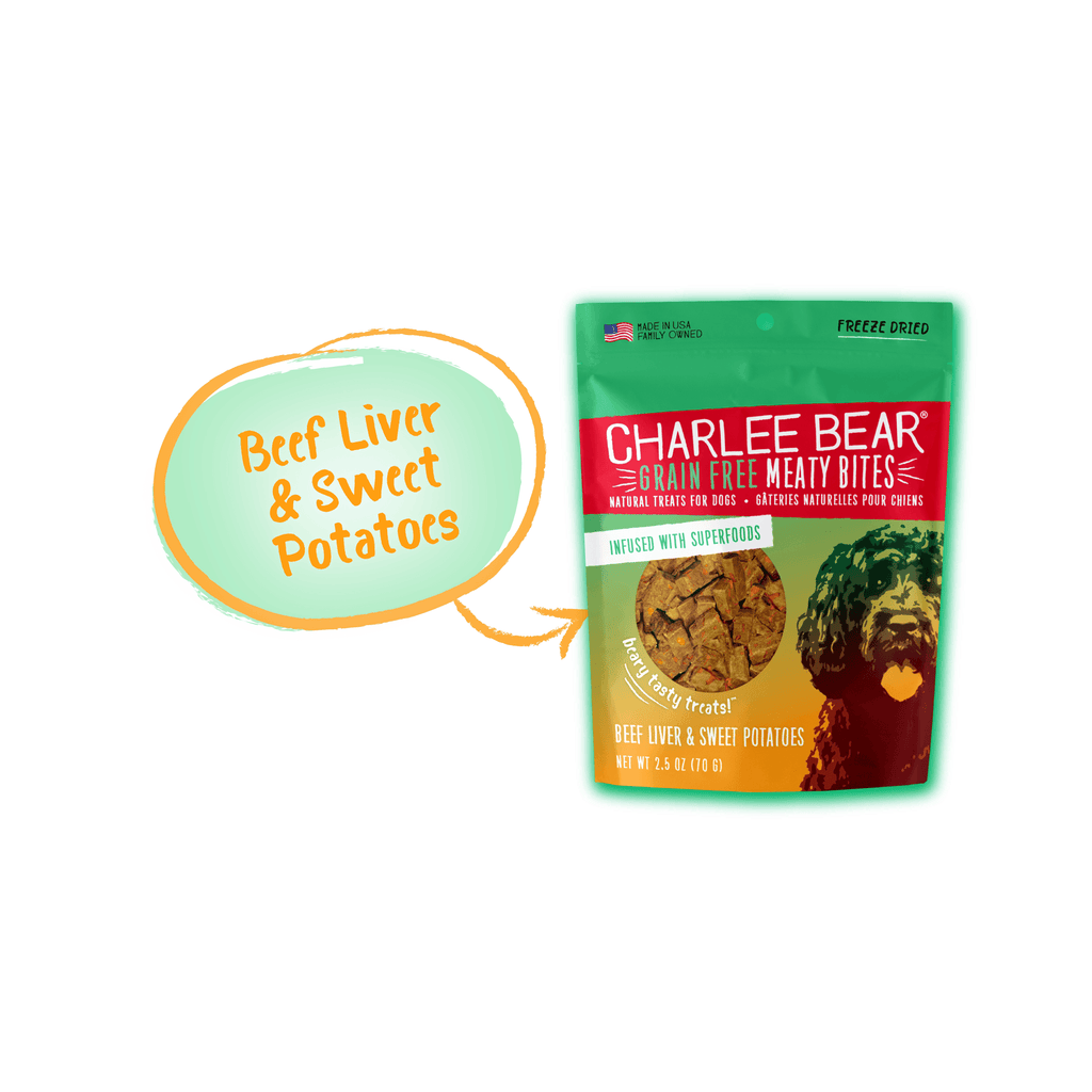 Charlee Bear Grain Free Meaty Bites Beef Liver & Sweet Potato