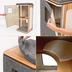 Vesper Cat Furniture V-Cubo Tower Stone, Cat Scratching Posts, Rolf C Hagen Inc. - PetMax Canada