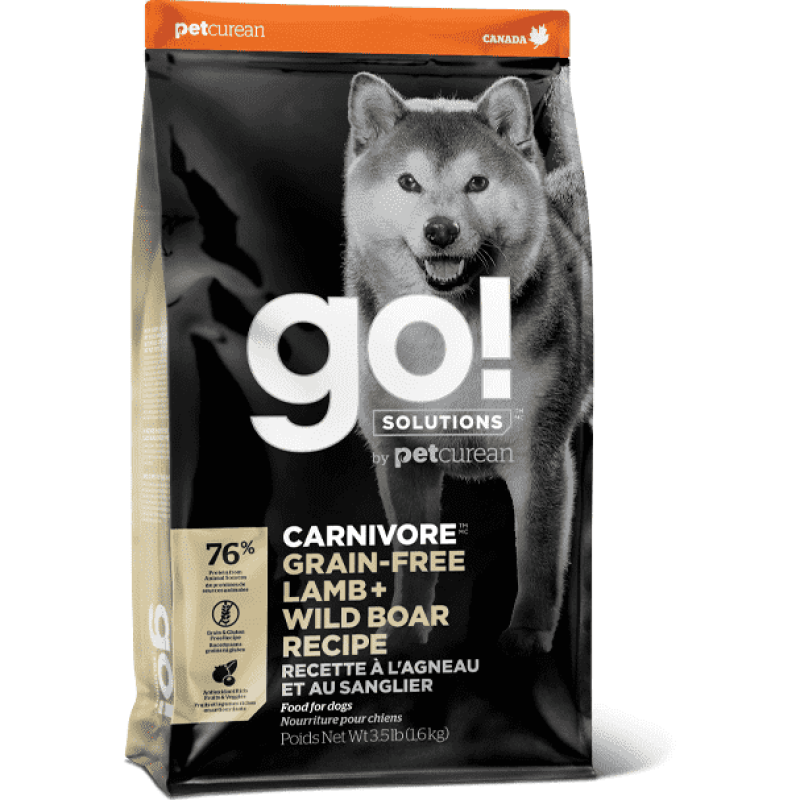 GO! CARNIVORE Grain Free Lamb + Wild Boar Recipe for dogs  Dog Food - PetMax