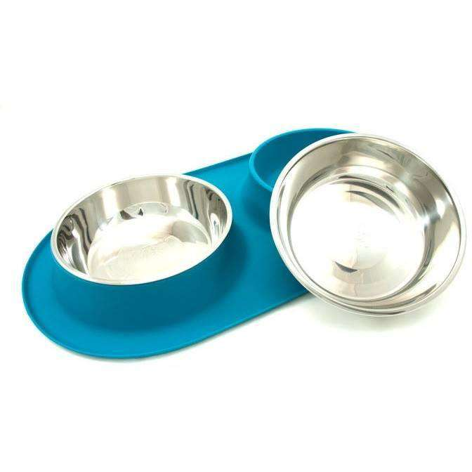 Messy Mutts Silicone Feeder With 2 Stainless Steel Bowls  Dog Dishes - PetMax