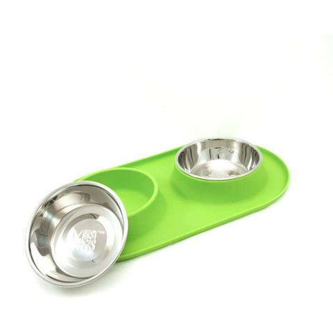 Messy Mutts Silicone Feeder With 2 Stainless Steel Bowls