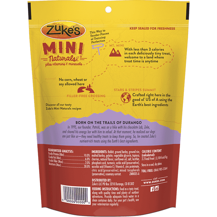 Zukes Dog Treats Mini Naturals Rabbit  Dog Treats - PetMax
